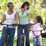 Grandmother, mother and daughter on bikes